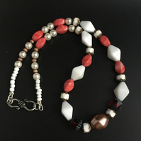 SALE - Multi Coloured Bead and Pearl Necklace