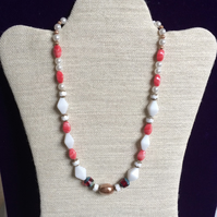 Multi Coloured Coral, Cream and White Bead and Pearl Necklace