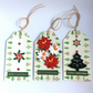 Trees, Poinsettias & Crystals Christmas Gift Tags (set of 3)