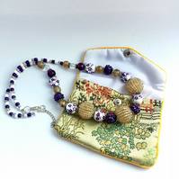 SALE - Gold, White & Purple Beaded Necklace
