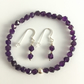 Amethyst and Sterling Silver Bracelet and Earrings Set