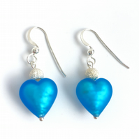 Dark Aquamarine Murano Glass Sterling Silver Fishhook Earrrings