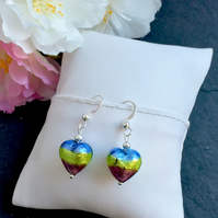 Multi Coloured Murano Glass Sterling Silver Fishhook Earrrings