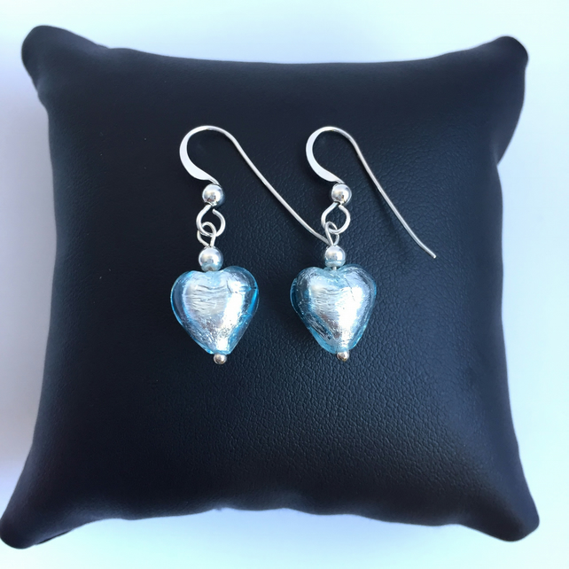 Aquamarine Murano Glass Heart Sterling Silver Fishhook Earrrings