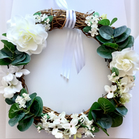 White Faux Floral and Foliage Rattan Wreath (12 x 12 inches)