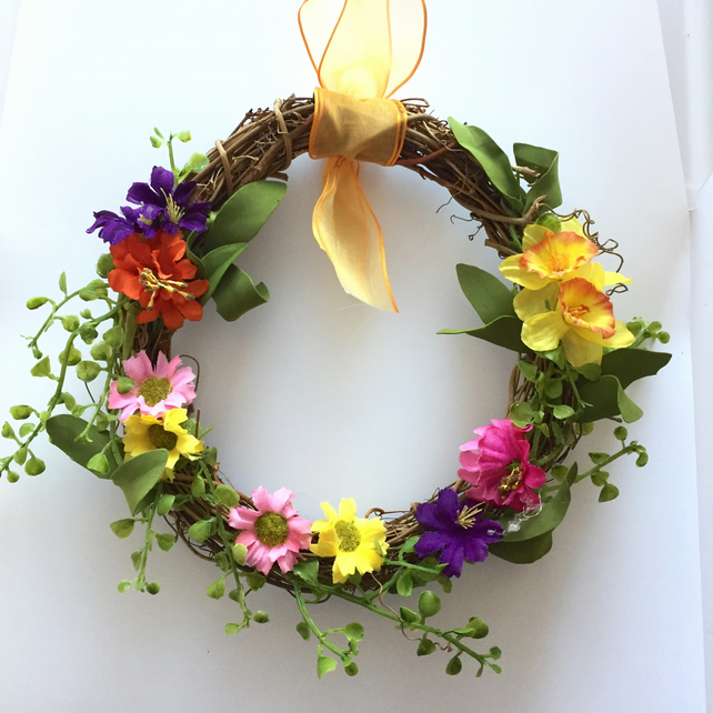 Faux Floral Spring Rattan Wreath (8 x 8 inches)