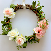 Floral Cream, Pink and Peach Faux Roses Rattan Wreath (8 x 8 inches)