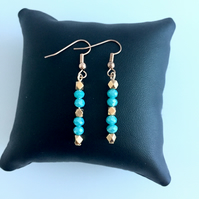 Aqua Glass Bead and Rose Gold Plated Earrings