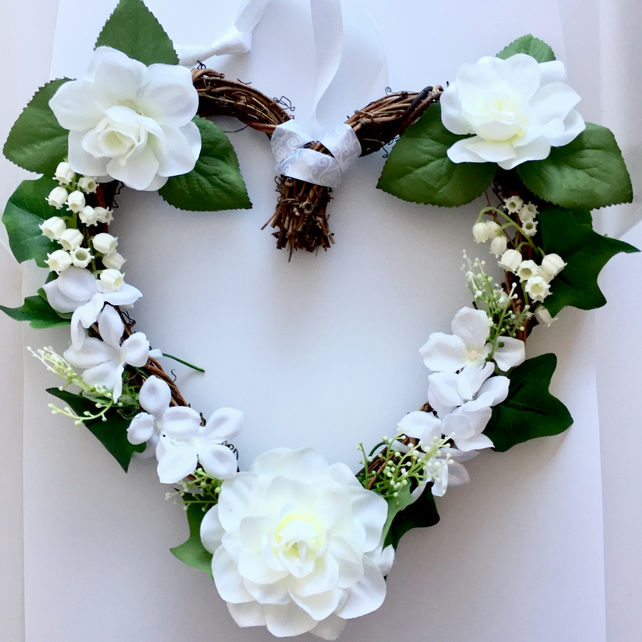 White Faux Flower Rattan Heart Wreath (10 x 10 inches)
