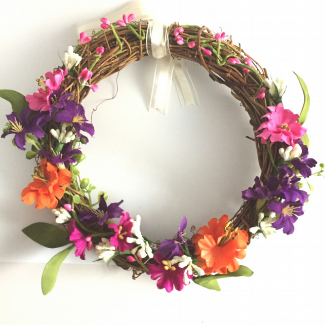 Faux Mixed Floral Rattan Wreath (8 x 8 inches)