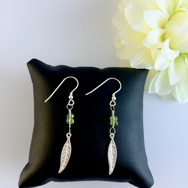 Sterling Silver Earrings with Leaf and Peridot Drop