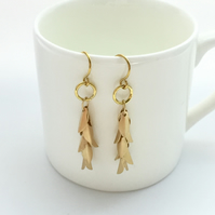 Soft Gold Metal Leaf Drop Earrings