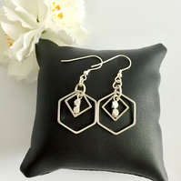 Silver Geometric Drop Earrings