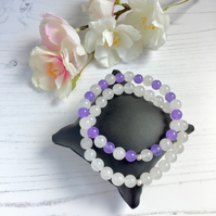 White & Lilac Jade Stretch Bracelets - set of 2