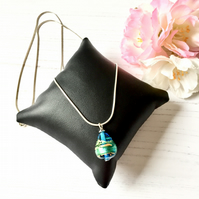 Turquoise Green and Gold Murano Glass Pendant on Sterling Silver Necklace Chain