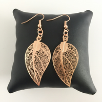 Rose Gold Plated Leaf Drop Earrings
