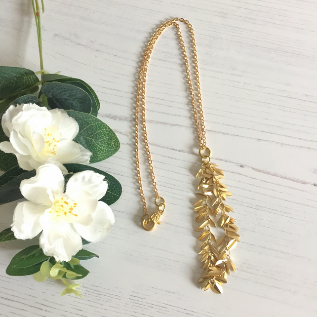 Soft Gold Plated Leaf Drop Necklace