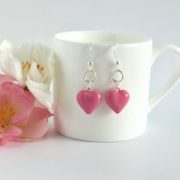 Pink Enamel Heart Sterling Silver Earrings