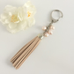 Natural Faux Suede Tassel & Cream Freshwater Pearl Key Ring or Bag Charm