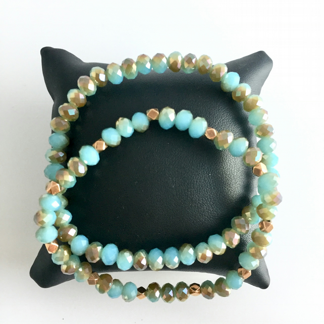 Duck Egg Blue & Rose Gold Beaded Bracelets - set of 2