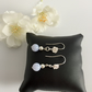 Sterling Silver Rose Design Drop Earrings with Blue Lace Agate