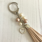 Key Ring or Bag Charm with Natural Faux Suede Tassel and Coffee & Cream Pearls