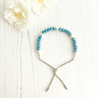 Sterling Silver & Turquoise Glass Beaded Slider Bracelet