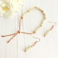 Cream Lustre & Rose Gold Plate Beaded Slider Bracelet with matching Earrings