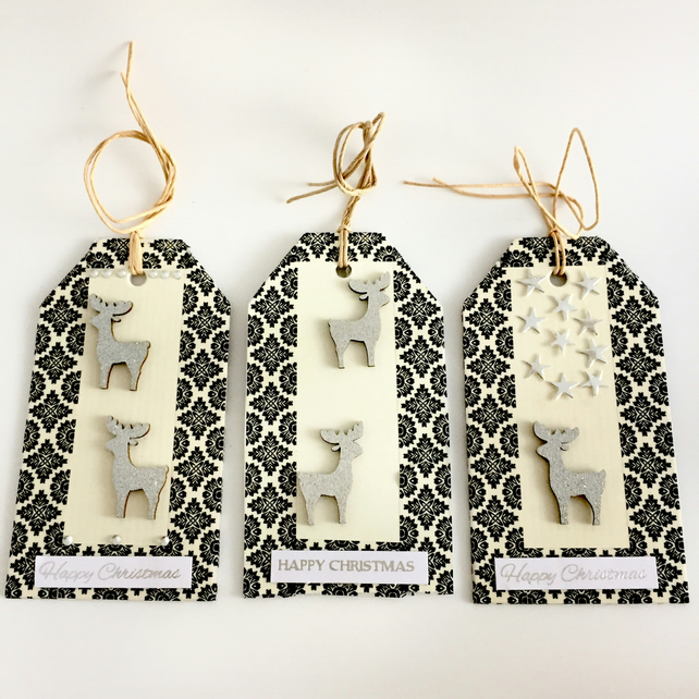 Reindeers Stars & Sparkles Christmas Gift Tags - set of 3