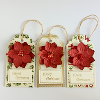 Red Poinsettias - Set of 3 Christmas Gift Tags