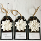 White Flower, Pearls & Sparkles Black Card Christmas Gift Tags (set of 3)