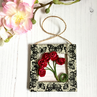 Red Paper Roses Mini Frame Picture