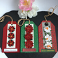 Red & White Poinsettia Christmas Gift Tags - Set of 3