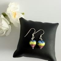 Multi Coloured Murano Glass Heart Sterling Silver Earrings