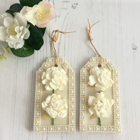 Cream & Ivory Roses, Pearls & Lace Gift Tags - set of 2