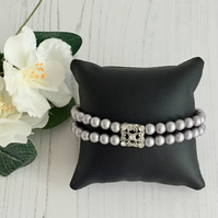 Pale Grey Swarovski Pearl and Marcasite Stretch Bracelet