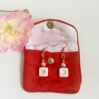 Rose Gold Plated Drop Earrings with White and Cream Czech Glass Beads