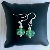 Sterling Silver and Light Green Lampwork Glass Bead Earrings