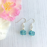 Sterling Silver and Light Blue Lampwork Glass Bead Earrings