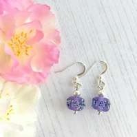 Sterling Silver and Light Purple Lampwork Glass Bead Earrings
