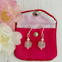 Sterling Silver and Clear White Lampwork Glass Bead Earrings