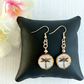 Rose Gold Plated Earrings with White Czech Glass Coin Bead