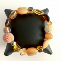 Cream Gold Amber Tones Stretch Beaded Bracelet