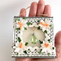 Christmas Mini Frame Picture or Gift Tag with crystal and white poinsettias