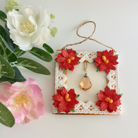 Christmas Mini Frame Picture or Gift Tag with crystal and red poinsettias