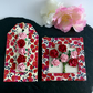 Red & Pink Paper Roses Mini Frame Picture and Gift Tag
