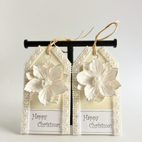 White Poinsettia Flowers Christmas Gift Tags - set of 2