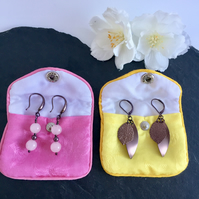 Chocolate Gold Plated Drop Earrings with Leaves & Rose Quartz (2 pairs)