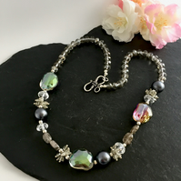 Grey Crystal, Gemstone and Pearl Necklace