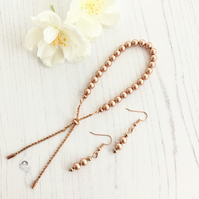Rose Gold Glass Pearls and Rose Gold Plated Slider Bracelet & Matching Earrings